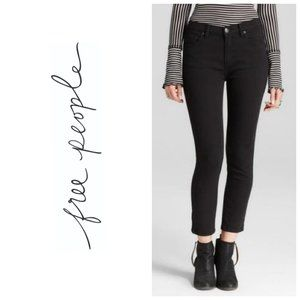 FREE PEOPLE High Rise Cropped Black Skinny Jeans